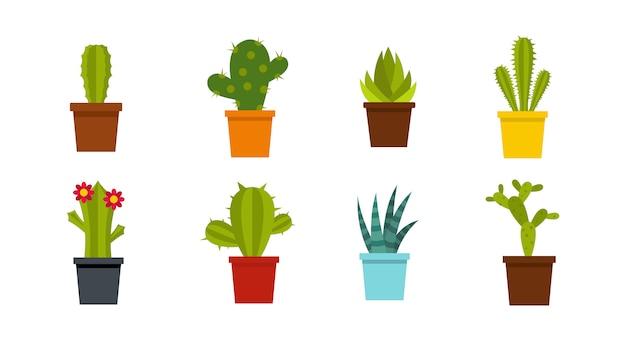 Set di icone di cactus camera. insieme piano della raccolta delle icone di vettore del cactus della stanza isolato