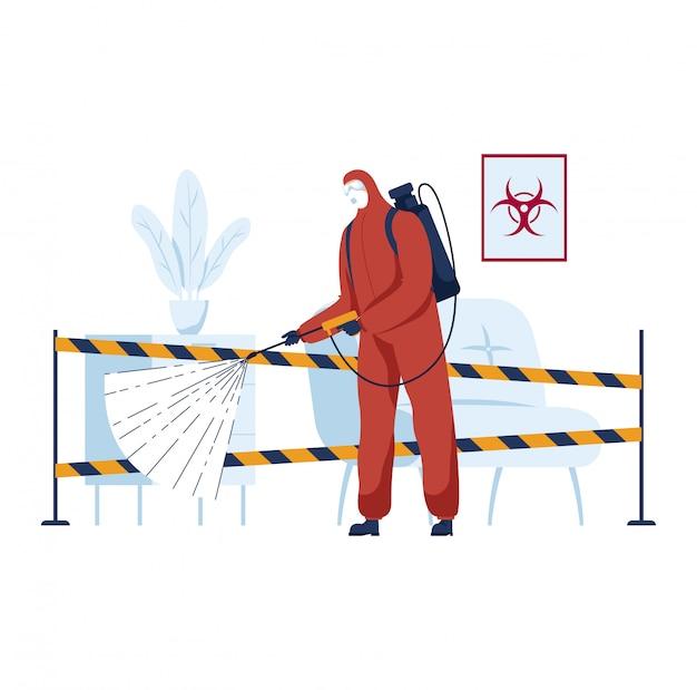 Disinfezione ambientale, pandemia di coronavirus, malattie pericolose, prevenzione delle infezioni, protezione da virus, illustrazione di stile piano