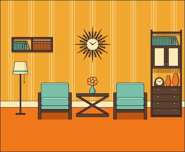 Camera in appartamento. retro salone interno s in linea arte. grafica. illustrazione lineare. linea sottile spazio domestico vintage con mobili. attrezzatura per la casa 0s. sfondo 0s.