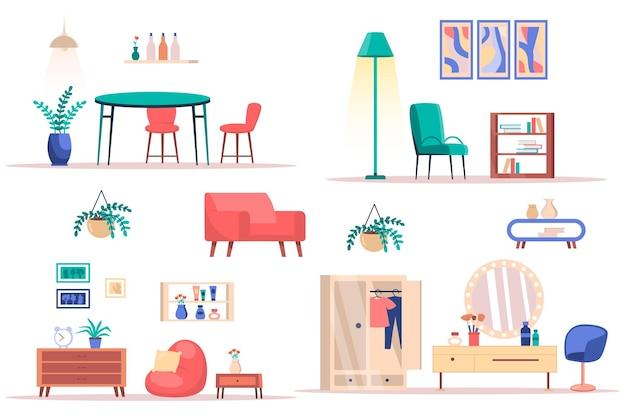 Set di elementi isolati per il design degli interni della stanza pacchetto di piante di mobili alla moda e decorazioni per la sala da pranzo
