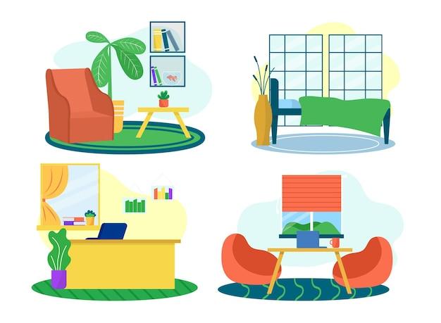 Interiore della stanza con mobili isolati su bianco set illustrazione vettoriale sedia tavolino design a ...