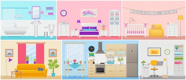 Interni della camera. illustrazione in design piatto. casa dei cartoni animati.