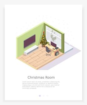 La stanza in modo isometrico.