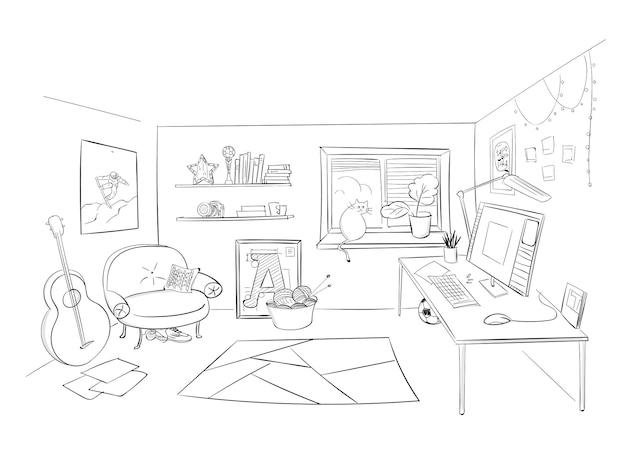 Disegno a mano di vettore di scarabocchio nero di arte della linea della stanza schizzo di una stanza in prospettiva a matita