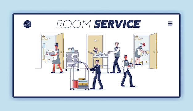 Pagina di destinazione del servizio in camera con il personale dell'hotel dei cartoni animati che indossa l'uniforme e serve ai visitatori.