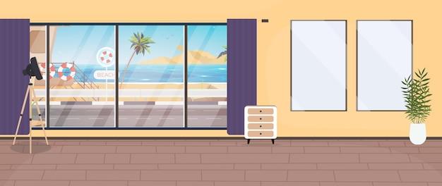 Una stanza con una grande finestra panoramica con vista sul mare. stile cartone animato, illustrazione.