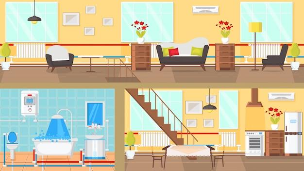 Illustrazione piana di vettore di concetto interno delle stanze.