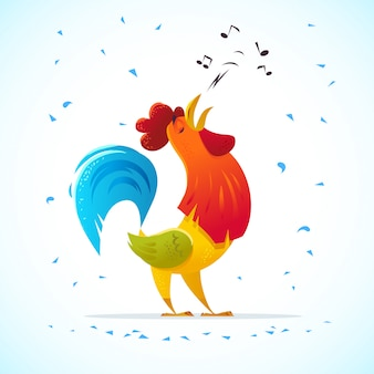 Ritratto del personaggio del gallo. vector piatta illustrazione.