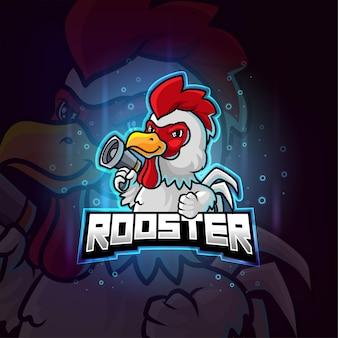 Gallo pollo mascotte esport logo colorato