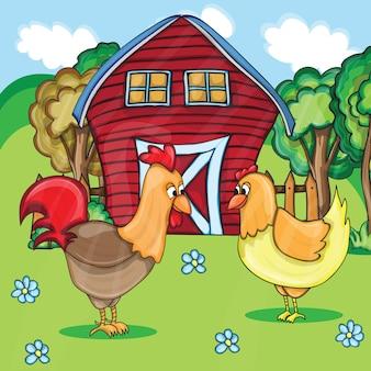 Gallo e polli sul bacgroung del paesaggio rurale dell'azienda agricola