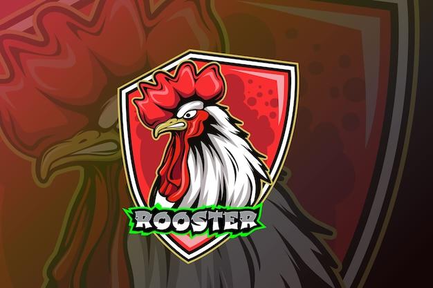 Modello di logo della squadra di rooster e-sports