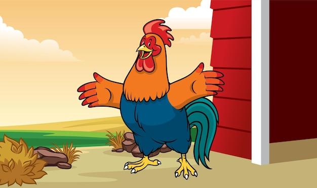 Gallo in fattoria in stile cartone animato