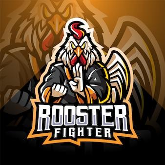 Logo della mascotte di esportatore di gallo combattente