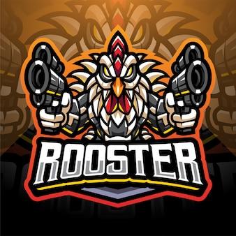 Rooster gunners cyborg mascotte logo design