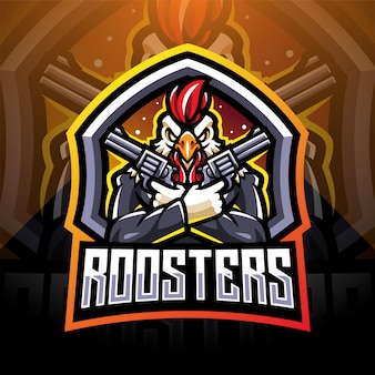 Rooster gunners esport mascotte logo design