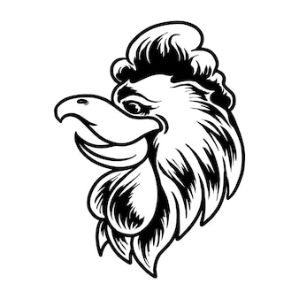 Illustrazione vettoriale di carattere testa di gallo