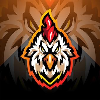 Testa di gallo esport mascotte logo design