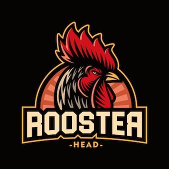 Illustrazione della mascotte di logo della testa del gallo