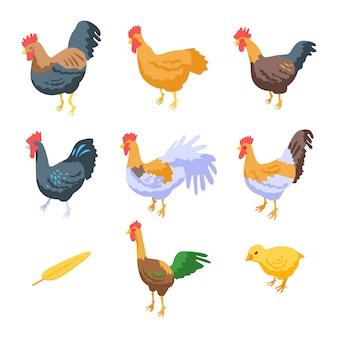 Set di icone di gallo, stile isometrico