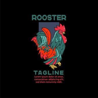 Illustrazione del gallo per tshirt
