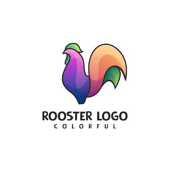Gradiente di logo di linea arte del gallo colorato