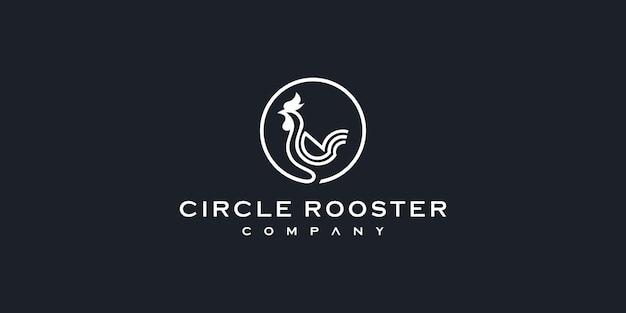 Illustrazione dell'icona di vettore del logo della monolinea del profilo della linea del gallo