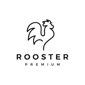 Logo monoline linea gallo contorno Vettore Premium