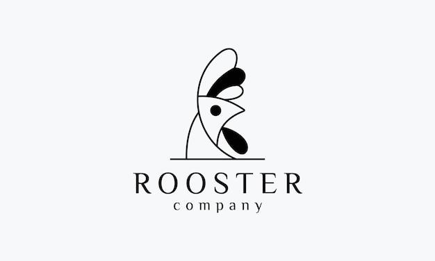 Design del logo a forma di stile della linea del gallo