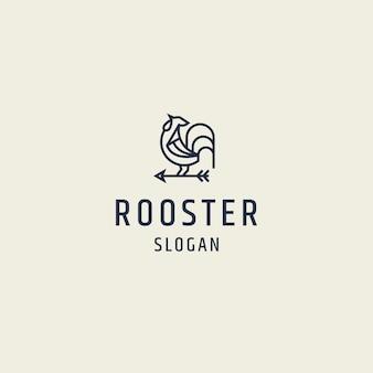 Illustrazione piana di vettore del modello di progettazione dell'icona di logo del gallo