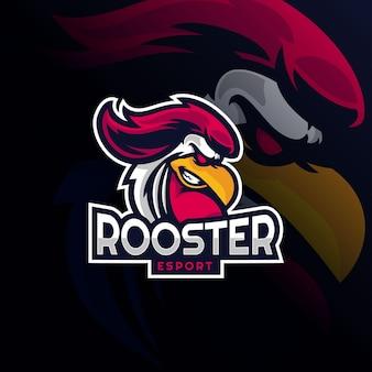 Mascotte del logo del gallo per i giochi di esport