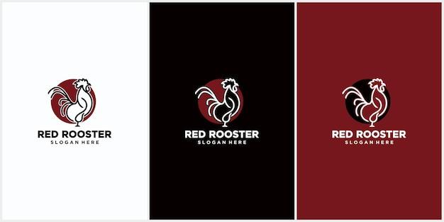Logo del gallo con il concetto di linea, mascotte di pollo, allevamento di polli, illustrazione vettoriale di pollo per animali domestici