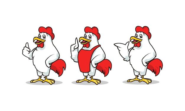 Il modello di vettore dell'illustrazione di progettazione della mascotte del gallo ha messo con il fondo bianco
