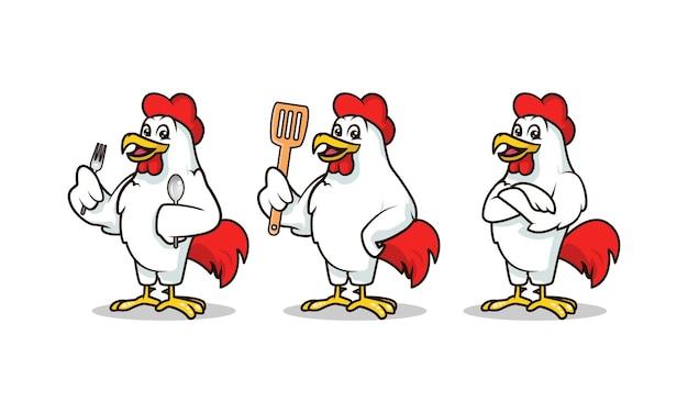 Il modello di vettore dell'illustrazione di progettazione della mascotte del gallo ha messo con il fondo bianco Vettore Premium