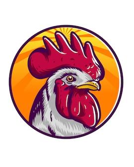 Logo della mascotte del gallo per la roba dell'agricoltore o l'icona dell'immagine di marca