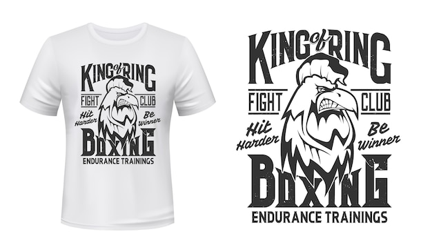 T-shirt con stampa gallo, emblema del club di lotta di boxe. scatola mascotte gallo gallo arrabbiato o club di combattimento kickboxing con slogan hit harder e be winner per la stampa della maglietta