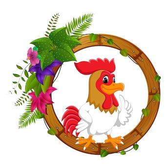 Gallo su telaio di legno rotondo con fiore