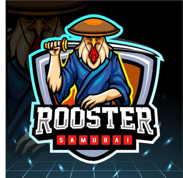 Design del logo esport della mascotte del samurai del gallo
