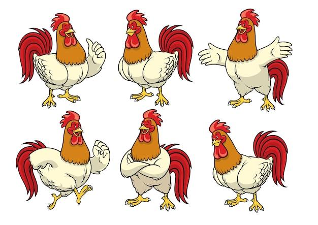 Set di gallo in stile cartone animato