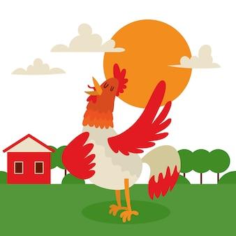 Gallo che canta o che esegue canzone sullo sfondo della terra di campagna