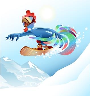 Gallo su snowboard in montagna. illustrazione del fumetto del gallo blu
