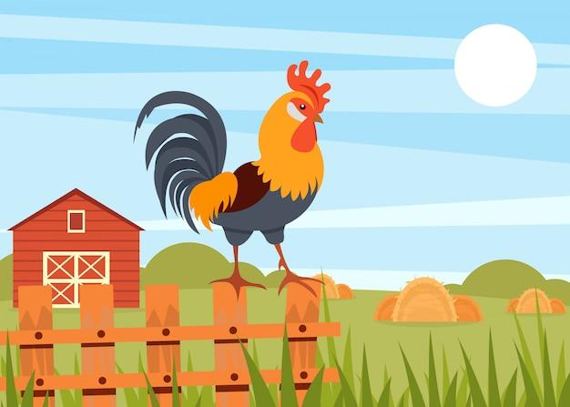 Gallo che sta sul recinto di legno sui precedenti del paesaggio rurale di estate e sull'illustrazione del granaio nello stile
