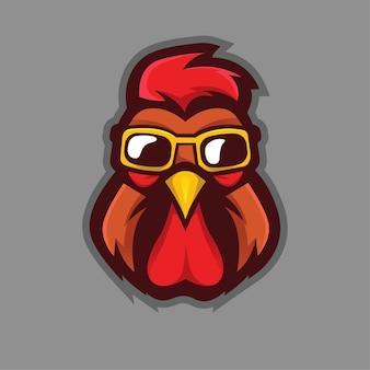 Gallo con gli occhiali mascotte logo design v