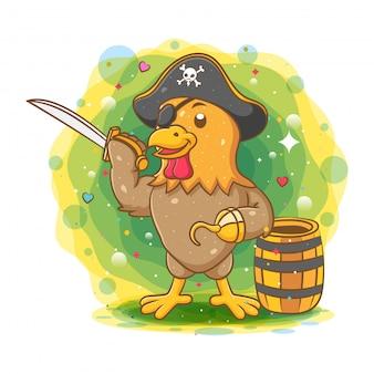 Un gallo che indossa un costume da pirata e con in mano una spada