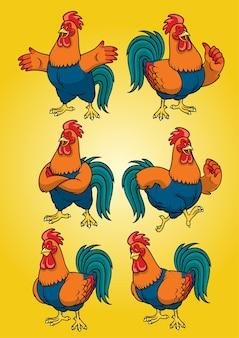 Gallo con set stile cartone animato