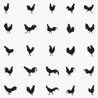 Illustrazione di sagome di galli