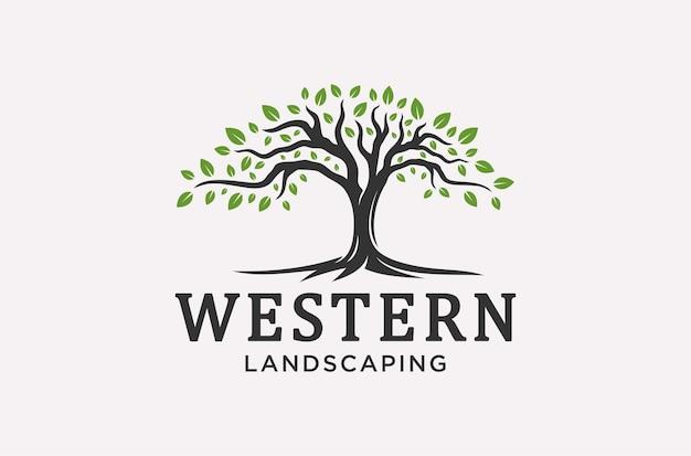 Radici o albero del design del logo paesaggistico.