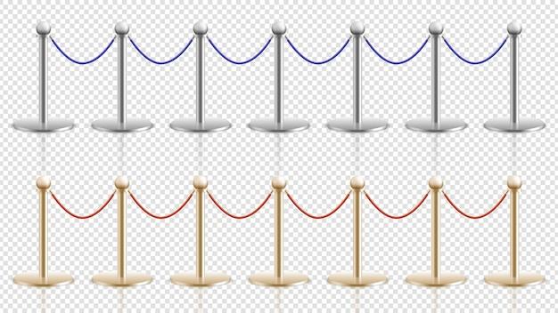 Barriera in corda. realistici supporti in acciaio oro argento con corde di velluto. candeliere d'ingresso per festival o teatro, cinema o museo. illustrazione di controllo della folla. ingresso cinema, galleria e museo Vettore Premium