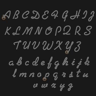 Carattere di corda, lettere scritte a mano nautiche, caratteri di corda in stile mare, alfabeto latino decorativo