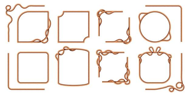 Cornici di corda. bordi quadrati e tondi in filo di canapa, linee curve in corda nautica. insieme di vettore di corde e spaghi di iuta marinaio realistico del fumetto