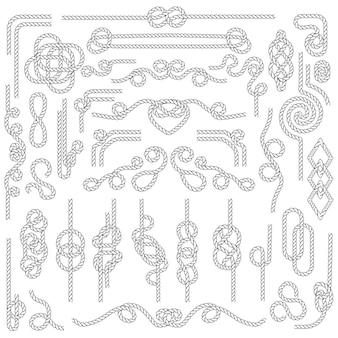 Nodo di corda. cordame marino con nodi nautici. elementi decorativi blu